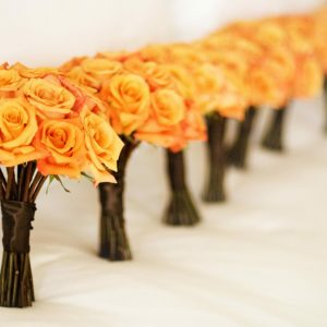 Orange Bridesmaids Bridal Bouquet