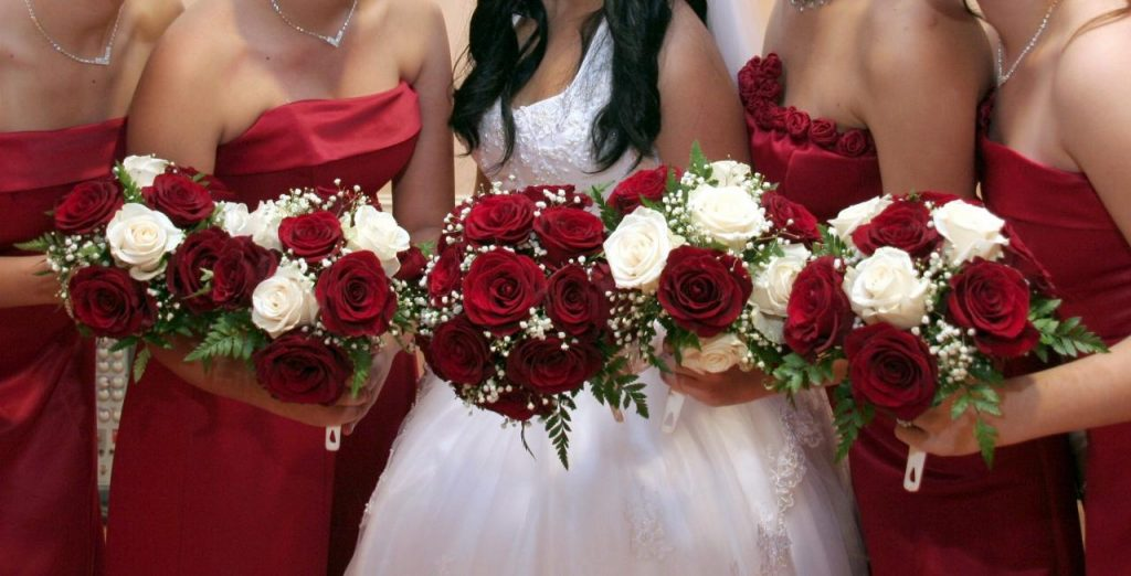Red Bridesmaids Bridal Bouquet