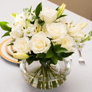 White Roses Bridal Center Piece